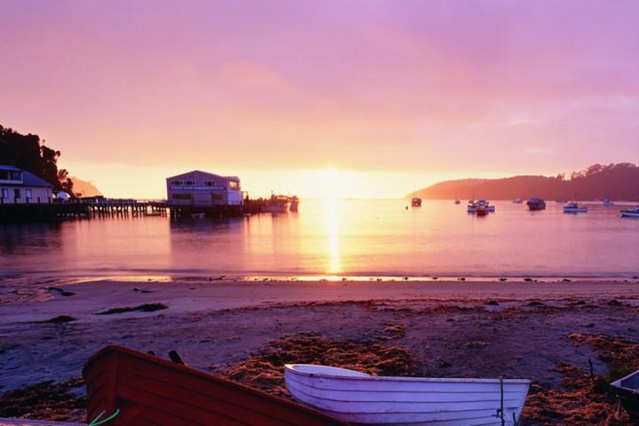 Atardecer en la Isla Foto: New Zealand