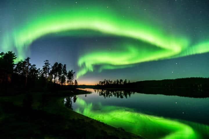 Auroras boreales en Levi, Finlandia. Foto: Archivo
