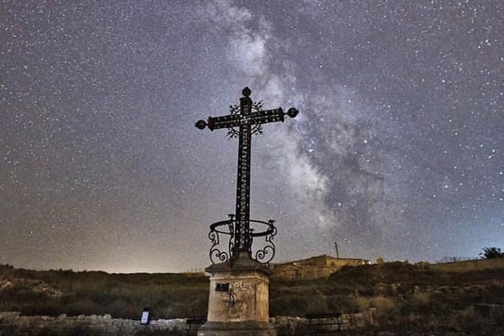 El punto donde está la cruz. Foto: belchiteturismo  Belchite Pueblo Viejo de España