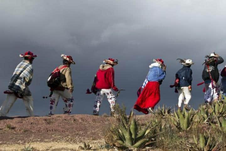 Peregrinos Huichol rumbo a Wirikuta San Luis Potosí. Foto: Warp