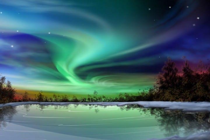 Un fascinante laberinto de colores son las Aureolas Boreales de Tromsø Foto: Astrolabio