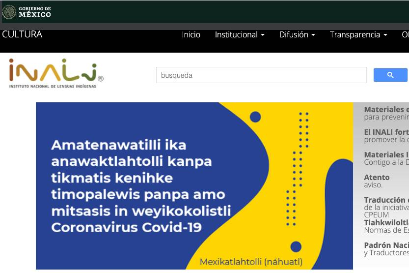 Sitio del INALI – Imagen INALI