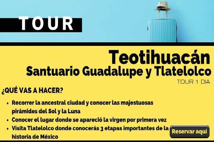 Tour día Teotihuacán, santuario de Guadalupe y Tlatelolco