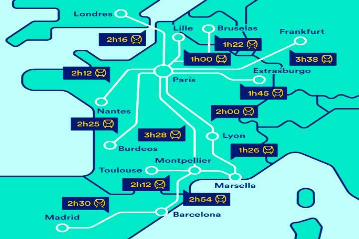 Mapa de rutas del tren TGV de Francia. Foto: Trainline