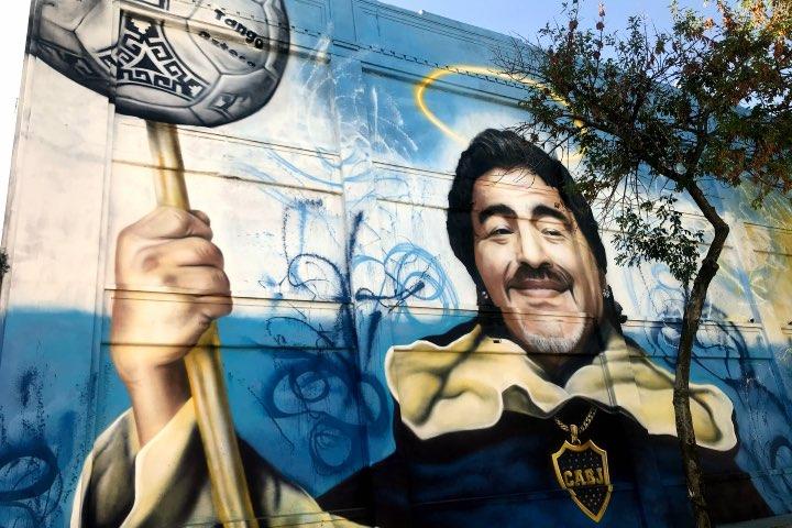Mural Diego Maradona en las calles de Buenos Aires. Foto: Vera Celentano Venturini