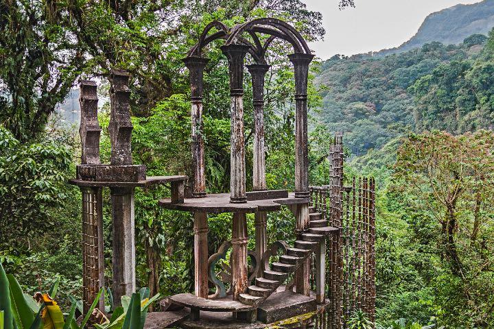 El Palacio de Bambú es parte del Surrealismo de la Huasteca Potosina en el Jardín Escultórico Edward James. Foto: Sitio Web