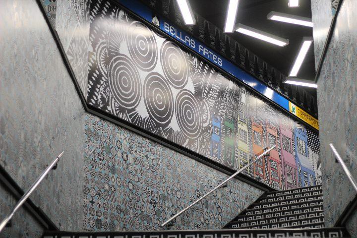 Murales en Metro Bellas Artes. Foto: Montserrat Castillo